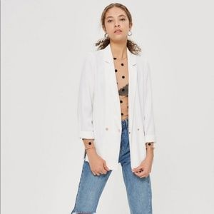 Topshop double breasted long ivory blazer jacket
